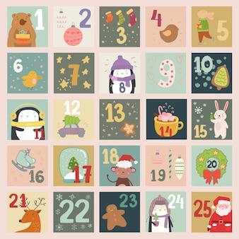 Calendario dell'avvento con illustrazioni belle e affascinanti