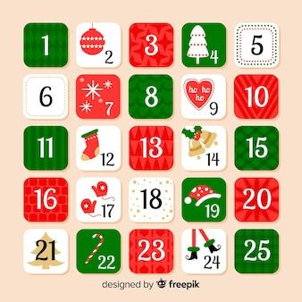 Calendario dell'avvento degli elementi di natale