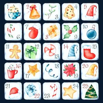 Calendario dell'avvento dell'acquerello con simboli tradizionali