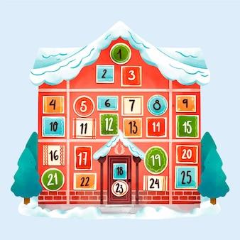 Calendario dell'avvento dell'acquerello festivo