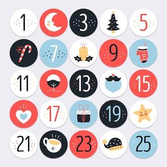 Calendario dell'avvento design piatto