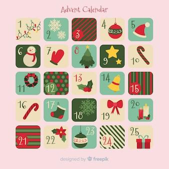 Calendario dell'avvento di elementi piatti