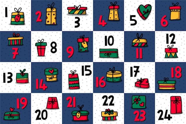 Calendario dell'avvento disegnato a mano festivo