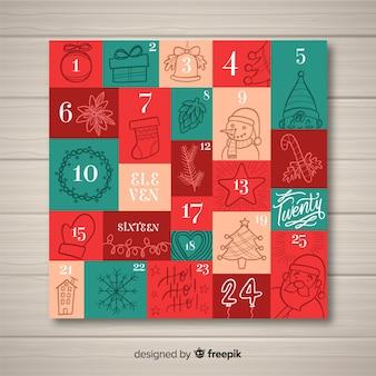 Calendario dell'avvento disegnato a mano