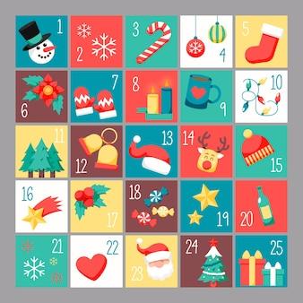 Calendario dell'avvento festivo design piatto