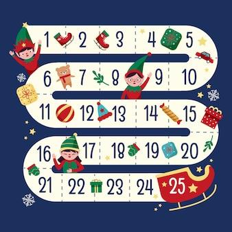 Calendario dell'avvento festivo disegnato a mano