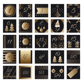 Calendario dell'avvento festivo dorato