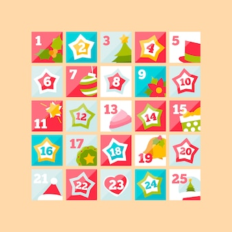 Calendario dell'avvento in design piatto