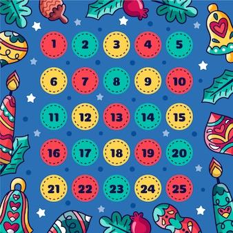 Calendario dell'avvento in mano disegnato