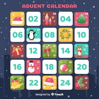 Calendario dell'avvento piatto