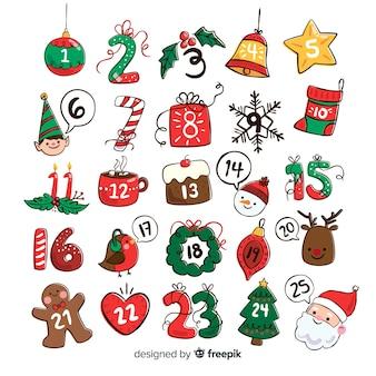 Calendario di avvento di elementi di natale disegnato a mano