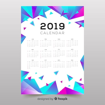 Calendario di forme astratte colorate 2019