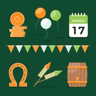 Calendario di san patrizio e collezione di oggetti fortunati