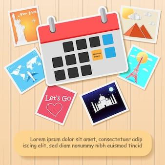 Calendario di viaggio in tutto il mondo.
