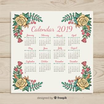 Calendario disegnato a mano del nuovo anno 2019