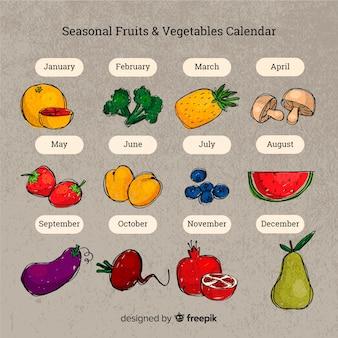 Calendario disegnato a mano di frutta e verdura di stagione