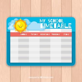 Calendario felice del sole e della scuola