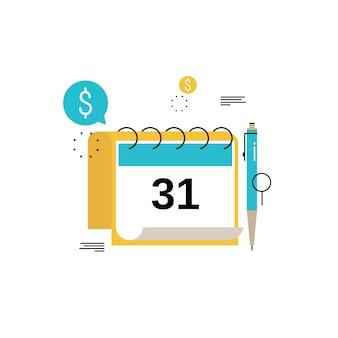 Calendario finanziario, pianificazione finanziaria, pianificazione mensile pianificazione disegno illustrazione vettoriale piatto. progettazione pianificazione finanziaria per la grafica mobile e web