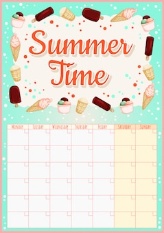 Calendario mensile colorato con elementi di gelato.