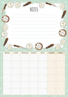 Calendario mensile hygge con elementi boho e note per fare la lista. pianificatore scandinavo lagom.