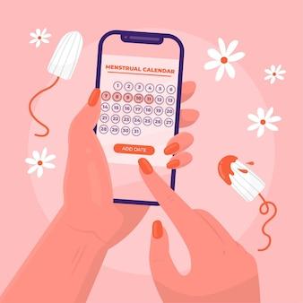 Calendario mestruale girly sul concetto di smartphone