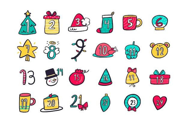 Calendario minimo di conto alla rovescia di simboli per il giorno di natale