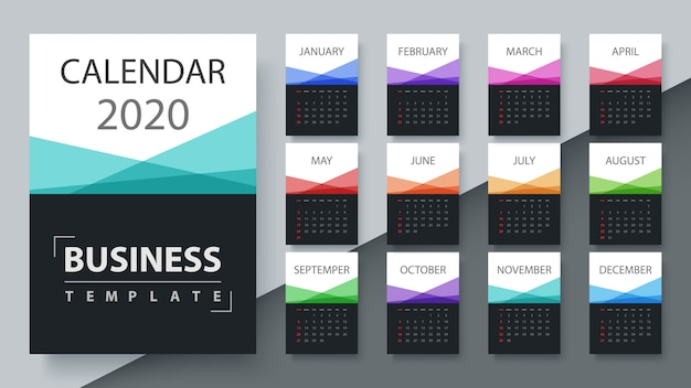Calendario modello 2020 anno. modello di business