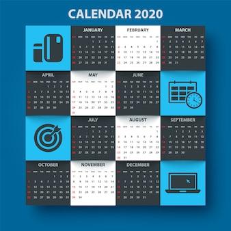Calendario modello 2020 anno. modello di business