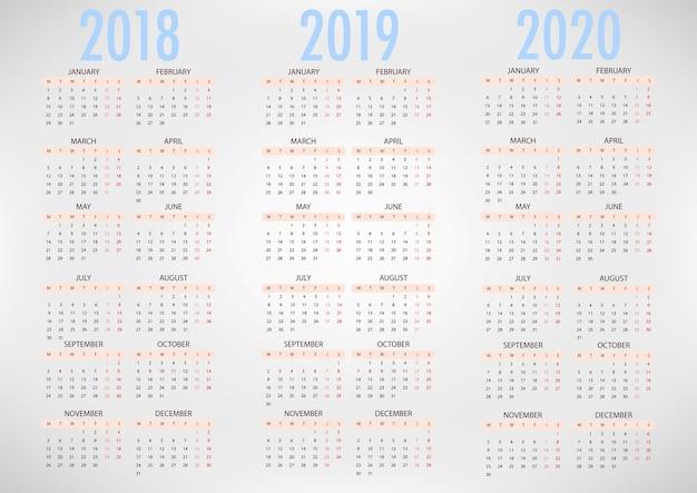 Calendario per 2018 2019 2020 modello vettoriale semplice