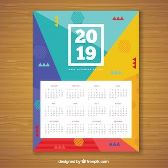 Calendario per il 2019 in stile memphis