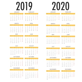 Calendario per il 2020 2019 su sfondo bianco. modello vettoriale