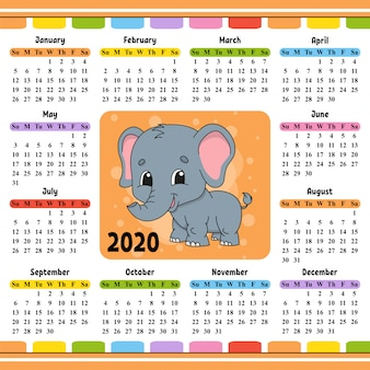 Calendario per il 2020 con un personaggio carino.