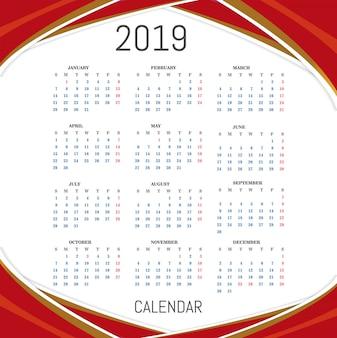 Calendario per il vettore di sfondo 2019