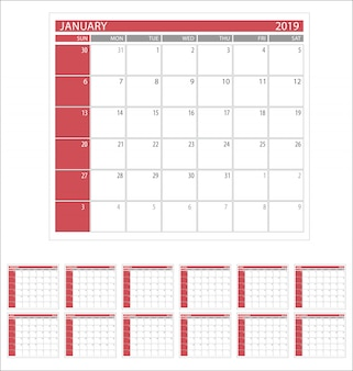 Calendario planner 2019 semplice modello di design minimale