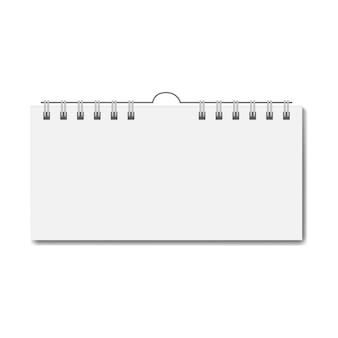 Calendario rettangolare realistico in bianco sulla spirale