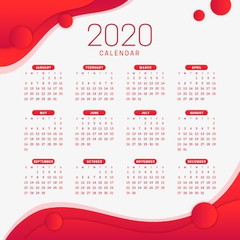 Calendario rosso del nuovo anno 2020