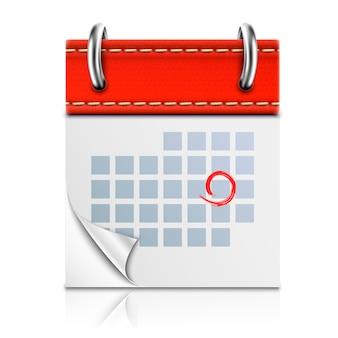 Calendario rosso isolato realistico