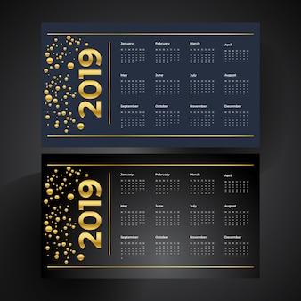 Calendario royal golden e lussuoso nuovo anno