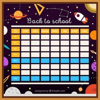 Calendario scolastico con il tema dello spazio