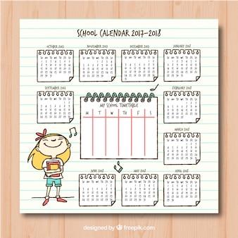 Calendario scolastico con ragazza disegnata a mano