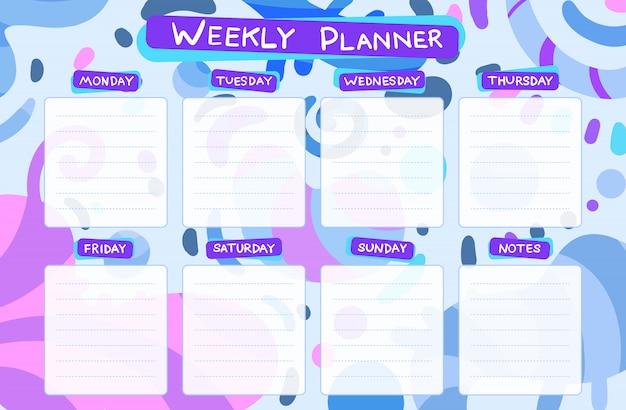 Calendario settimanale. compiti di pianificazione