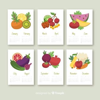 Calendario stagionale colorato di frutta e verdura