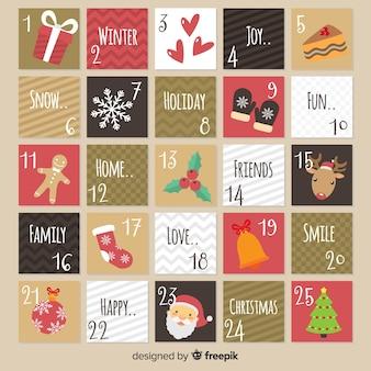 Calendario vintage dell'avvento disegnato a mano