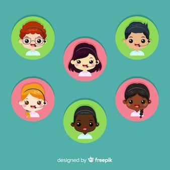 Call center agente collezione avatar con design piatto