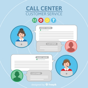 Call center agente collezione avatar con design piatto