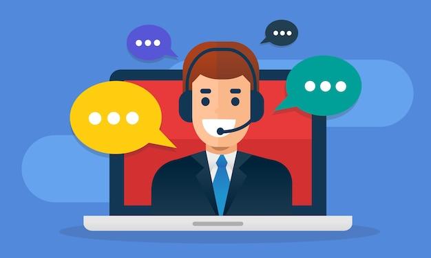 Call center avatar indossando la cuffia sul portatile schermo con messaggio buble.