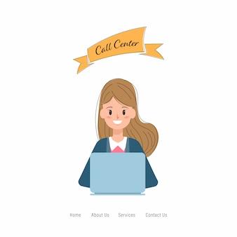 Call center carattere di lavoro del servizio clienti.