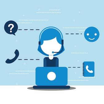 Call center di dispatcher donna con servizio clienti laptop