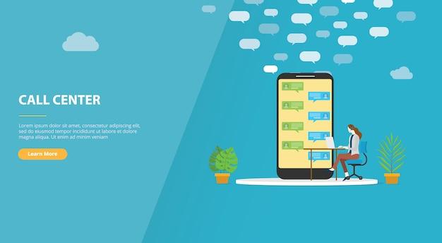 Call center per banner modello di sito web o home page di destinazione