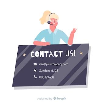 Call center piatto contattaci concetto